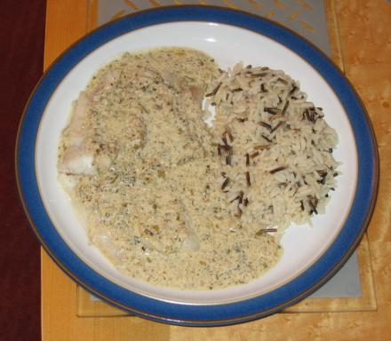 Image of Pollock with a Seaweed and Tarragon Cream Sauce