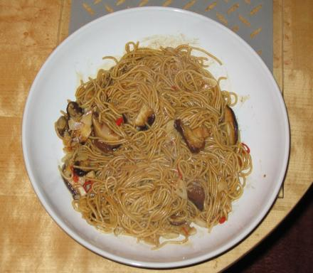 Image of Spicy Stir Fried Mushroom Noodle Chow Mein
