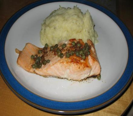Image of Pan Fried Salmon with a Burnt Butter and Caper Sauce