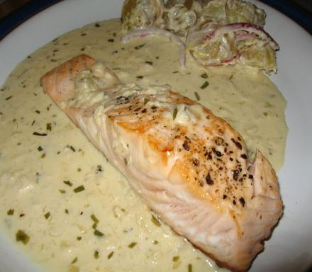 Image of Pan Fried Salmon with a Tarragon White Wine Cream Sauce