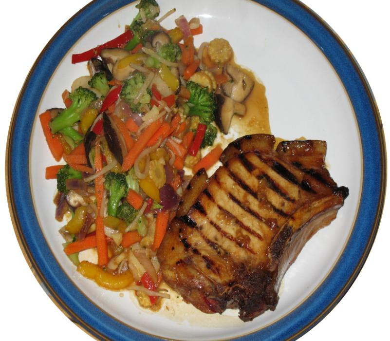 Image of Chinese Style Pork Chop with Stir-Fry Vegetables