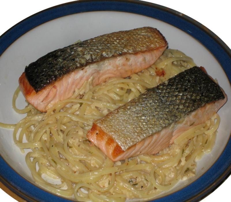 Image of Salmon with Tagliatelle in a Tarragon Cream Sauce