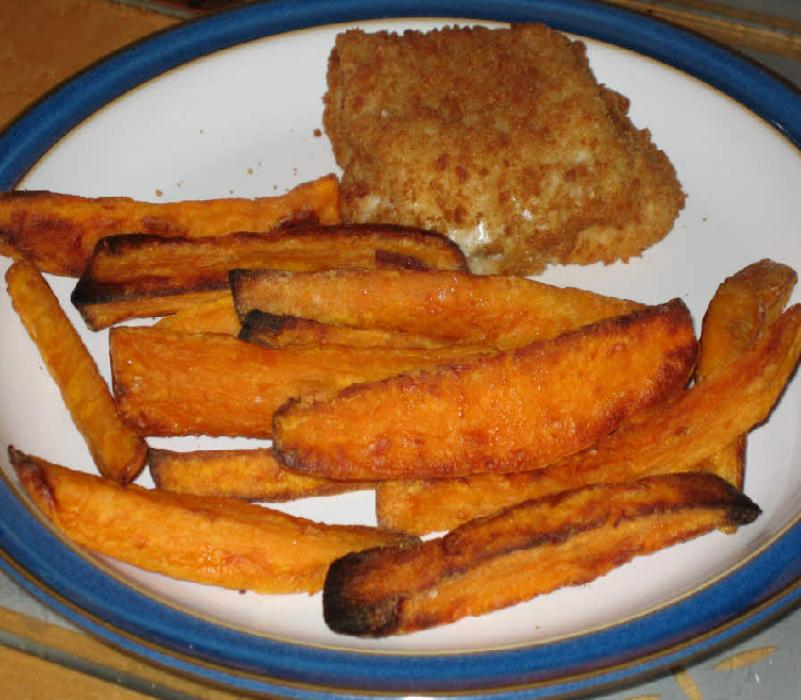 Image of Roasted sweet potato wedges.