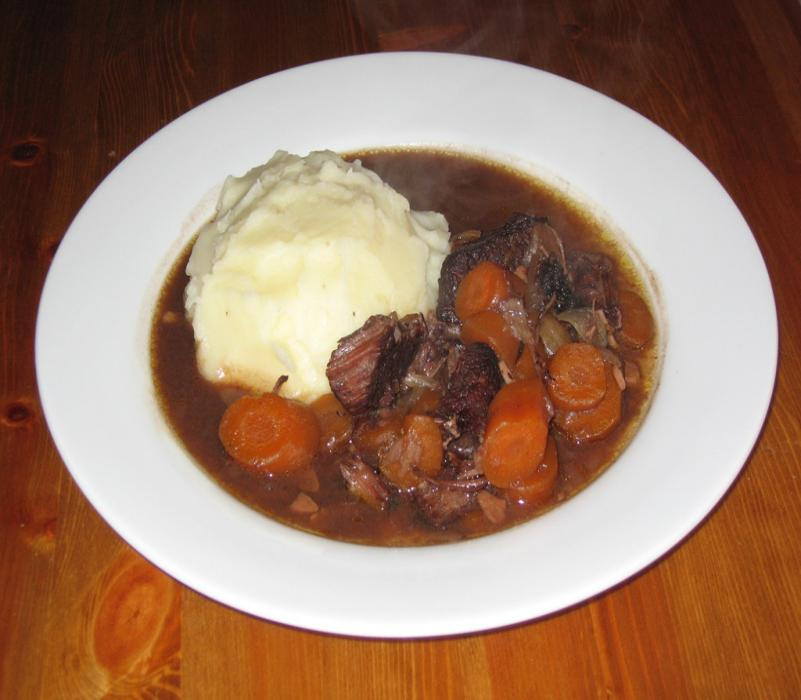 Image of Sarah's Braised Beef in Red Wine with Horseradish Mash
