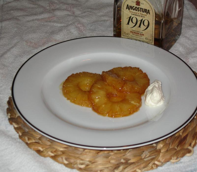 Image of Caramelised Pineapple Dessert with a Rum Sauce