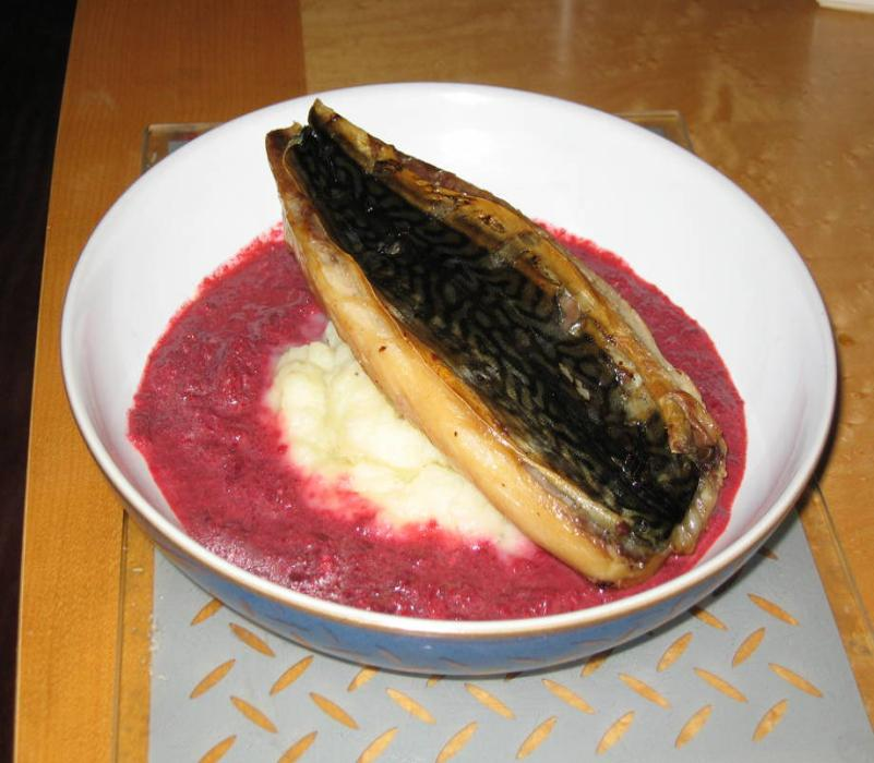 Image of Grilled Mackerel with Mash and Beetroot Puree