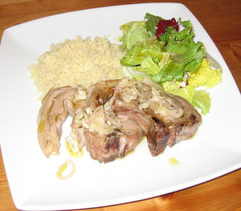 Image of Lamb Chops with Lemon Garlic Shallot and Oregano Dressing
