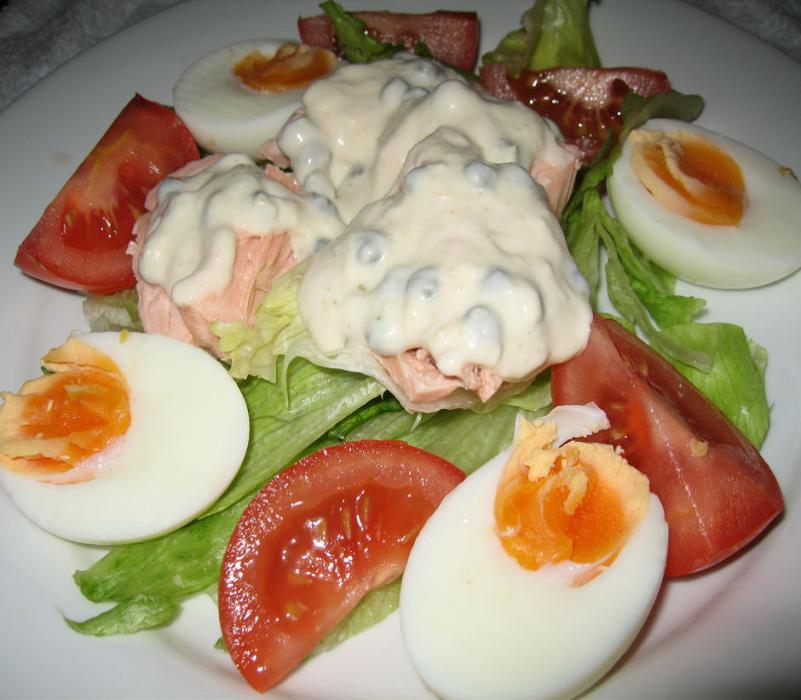 Image of Poached Salmon and Egg Salad with Horseradish Caper Dressing